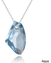 Crystal Ice Sterling Silver Free-form Crystal Necklace (Blue)