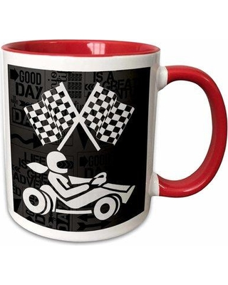 Symple Stuff Saterfiel Go-Cart Racer Checkered Flags in Adventure Word Art Coffee Mug W001258855 Color: Red