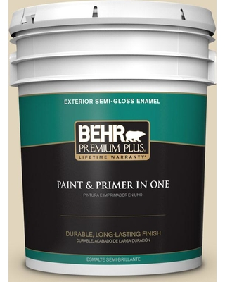 BEHR Premium Plus 5 gal. #PPU7-17 Wax Sculpture Semi-Gloss Enamel Exterior Paint and Primer in One