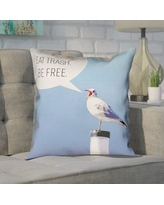 """Brayden Studio Enciso Eat Trash Be Free Seagull Square Throw Pillow BSTU2946 Size: 20"""" x 20"""", Type: Throw Pillow, Material: Suede"""