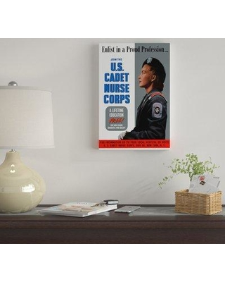 "East Urban Home 'Join the US Cadet Nurse Corps Poster II' Vintage Advertisement on Canvas UBAH9824 Size: 18"" H x 12"" W x 1.5"" D"