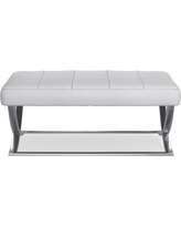 James Nickel Ottoman, Large, Solid, Brushed Canvas, White