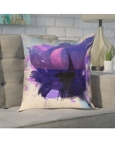 """Brayden Studio Houck Watercolor Moon and Sailboat Leather/Suede Pillow Cover BYST3680 Size: 16"""" H x 16"""" W"""