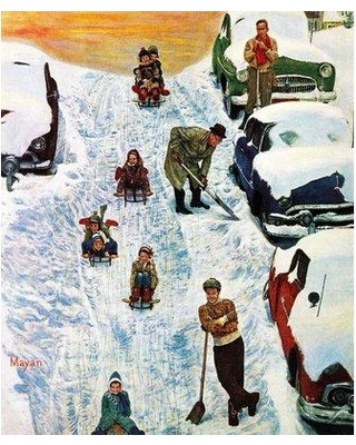 "Marmont Hill Sledding and Digging Out by Earl Mayan Painting Print on Wrapped Canvas MH-RETR-19-C- Size: 29"" H x 24"" W"