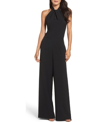 Women's Julia Jordan Halter Neck Jumpsuit, Size 16 - Black