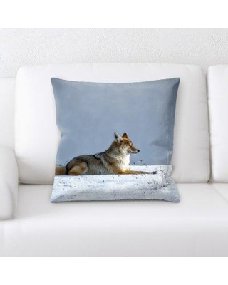 Millwood Pines St. Nicholas Wolf Laying in The Snow Throw Pillow BF026558