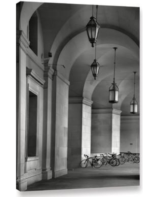 """ArtWall 'Colonnade And Bicycles' by Steve Ainsworth Photographic Print on Canvas 0ain070 Size: 24"""" H x 16"""" W"""