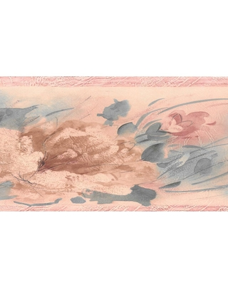 Dundee Deco Falkirk Brin Blowing Leaves Pink, Peach, Green Wallpaper Border, Pink/ Peach/ Green