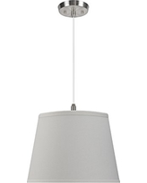 "Aspen Creative 72056 2-Light Hanging Pendant Ceiling Light with Transitional Hardback Fabric Lamp Shade, Off White, 15"" width"