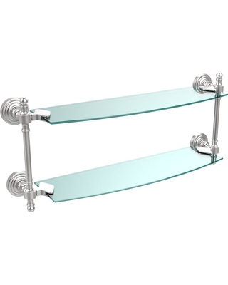 Allied Brass Retro Wave Collection 18 in. Two Tiered Glass Shelf in Satin Chrome