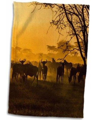 Shop East Urban Home Delacruz Wildebeests Zebras Silhouetted Against Sunlit Dust Tanzania Hand Towel Cotton Microfiber Terry Wayfair In Orange Black