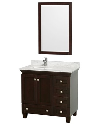 """Acclaim 36"""" Single Bathroom Vanity Set with Mirror Wyndham Collection Top Finish: White Carrera Marble, Base Finish: Espresso"""