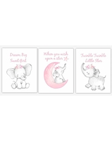 Pink Elephant Baby Girl Nursery Decor Watercolor Wall Art Shower Gift Kids Bedroom Pictures 3 UNFRAMED PRINTS