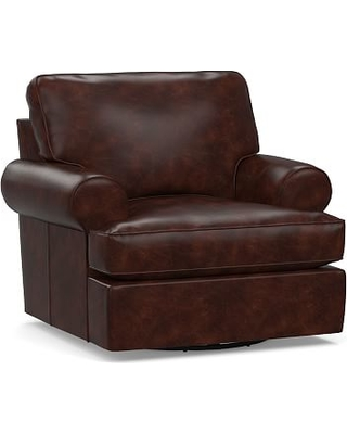 Buchanan Roll Arm Leather Swivel Armchair, Polyester Wrapped Cushions, Legacy Tobacco