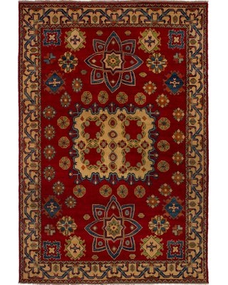 """One-of-a-Kind Thadine Hand-Knotted 2010s Uzbek Gazni Red 6'6"""" x 9'9"""" Wool Area Rug Isabelline"""