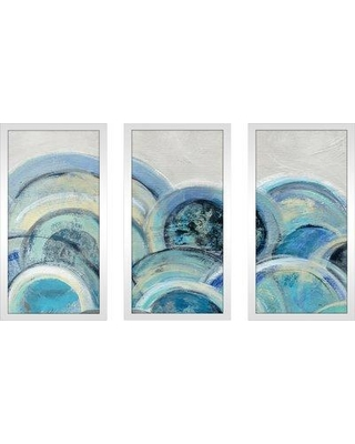 "Orren Ellis 'Variation Blue Gray III' Acrylic Painting Print Multi-Piece Image on Glass ORNL1059 Size: 33.5"" H x 52.5"" W"