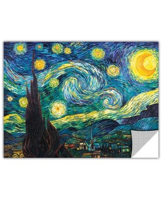 """ArtWall Starry Night by Vincent Van Gogh Removable Wall Decal ARWL6681 Size: 36"""" H x 48"""" W x 0.1"""" D"""
