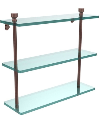 Allied Brass Foxtrot 16 in. L x 15 in. H x 5 in. W 3-Tier Clear Glass Bathroom Shelf in Antique Copper