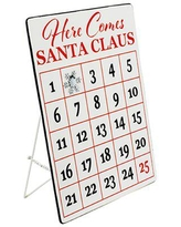 The Holiday Aisle® Tabletop 'Santa Claus' Iron Advent Calendar Metal in Red/White, Size 15.7 H x 0.8 W x 11.8 D in | Wayfair