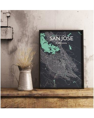 "Williston Forge 'San Jose City Map' Graphic Art Print Poster in Black WLFR5184 Size: 20"" H x 16"" W"