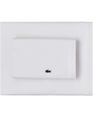 Lacoste 100% Cotton Percale Sheet Set, Solid, White, California King