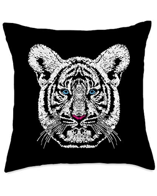 Wild Tiger Gifts By Ben White Head Vintage Tiger Face Wild Cat Lover Gift Throw Pillow, 18x18, Multicolor