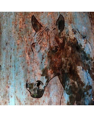 """Marmont Hill 'Rustic Horse II' by Irena Orlov Painting Print on Wrapped Canvas MH-MWWORLOV-47-C Size: 32"""" H x 32"""" W x 1.5"""" D"""