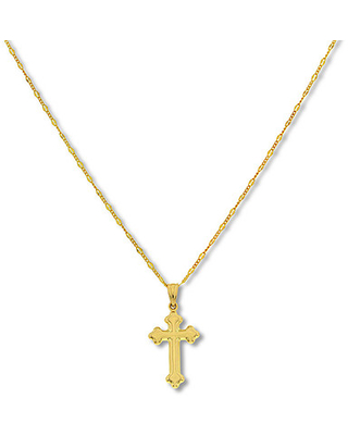Gothic Cross Necklace 14K Yellow Gold 18""