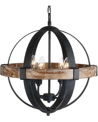 Parrot Uncle Landwehr 4-Light Candle Style Globe Chandelier with Wood Accents