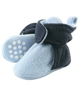 Luvable Friends Baby and Toddler Boy Cozy Fleece Booties, Light Blue Navy, 2 Toddler