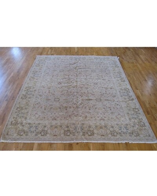 One-of-a-Kind Spruce Design Hand-Knotted 9' x 12' Wool Beige Area Rug Aga John Oriental Rugs