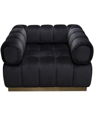 Image Collection IMAGECHBL Low Profile Chair in Black Velvet with Brushed Gold