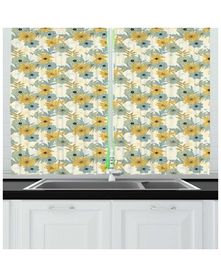 Floral Illustration of Blooming Flowers Petals Essence of Nature Garden Artwork Kitchen Curtain East Urban Home