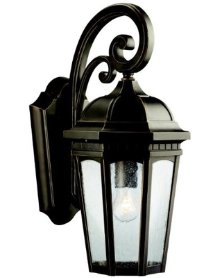 """Courtyard 17.75"""" 1 Light Outdoor Wall Light with Clear Seeded Glass in Rubbed Bronze"""