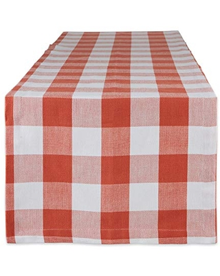 """DII Buffalo Check Collection, Classic Farmhouse Table Runner, 14x108"""", Vintage Red"""