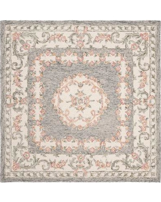 Charlton Home Evelina Hand-Tufted Wool Gray/Ivory Area Rug W001114288 Rug Size: Square 5'