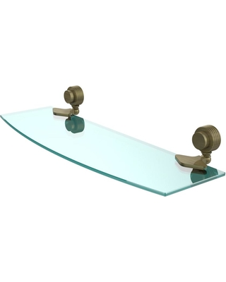 Allied Brass Venus 18 in. L x 2 in. H x 5 in. W Clear Glass Bathroom Shelf with Groovy Accents in Antique Brass