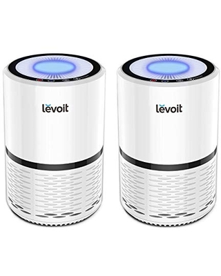 LEVOIT Air Purifier for Home Smokers Allergies and Pets Hair, True HEPA Filter, Quiet in Bedroom, Filtration System Cleaner Eliminators, Odor Smoke Dust Mold, Night Light, LV-H132,2 Pack