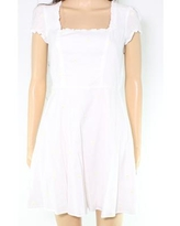 Sequin Hearts Women A-Line Dress White Size Medium M Embroidered Floral