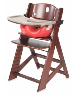Keekaroo® Height Right High Chair Mahogany with Infant Insert and Tray in Cherry