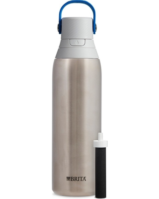 Brita 20oz Premium Double-Wall Stainless Steel Insulated Filtered Water Bottle - Gray