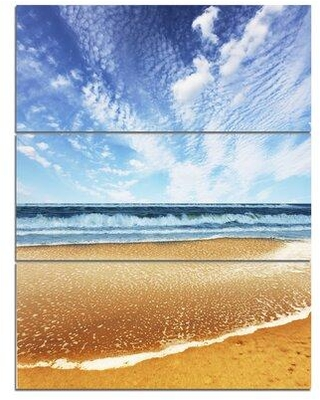 Design Art 'Beautiful Sea under Bright Sky' 3 Piece Photographic Print on Wrapped Canvas Set PT12202-3PV
