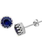 6mm Round-cut Sapphire Crown Earrings in Sterling Silver, Girl's, Sapphire/Silver