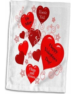 East Urban Home Pereira Valentine Hearts with I Love You Messages Hand Towel W000993813