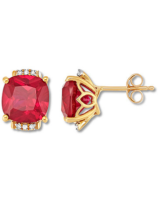 Lab-Created Ruby Earrings with Diamonds 10K Yellow Gold