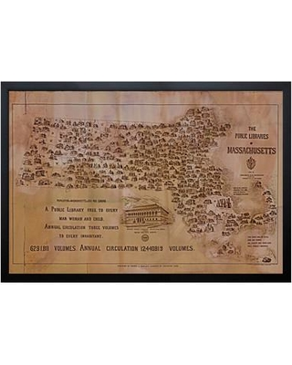 "Darby Home Co Public Libraries of Massachusetts Map Framed Graphic Art DRBC4483 Size: 16"" H x 24"" W"