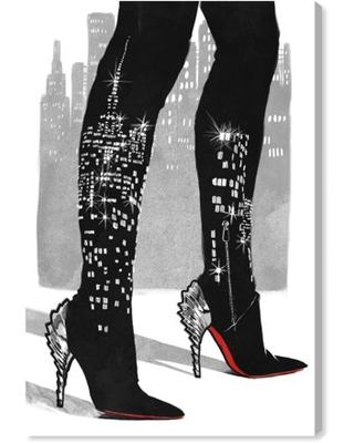 Runway Avenue Fashion and Glam Wall Art Canvas Prints 'City Lights' Shoes - Black, Gray