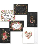 36ct Chalkboard And Roses Thank You Card Set