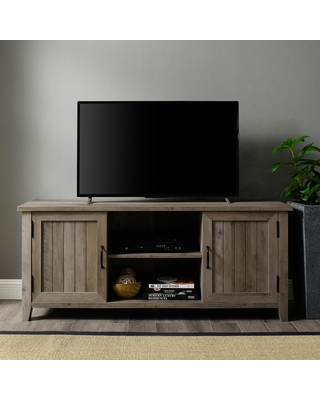 Walker Edison Furniture Company 58 in. Gray Wash Composite TV Stand 62 in. with Doors, Grey Wash
