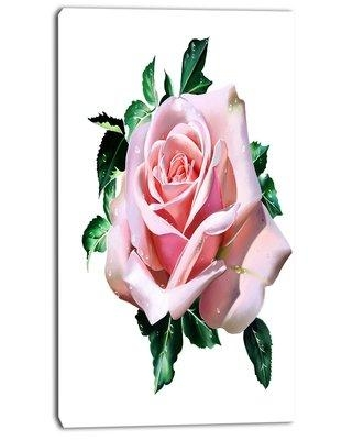 """Design Art 'Watercolor Rose with Green Leaves' Painting Print on Wrapped Canvas PT13716- Size: 32"""" H x 16"""" W x 1"""" D"""